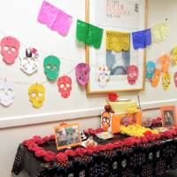 Día de los Muertos alter in the hallway outside the Modern Languages and Literatures Department.